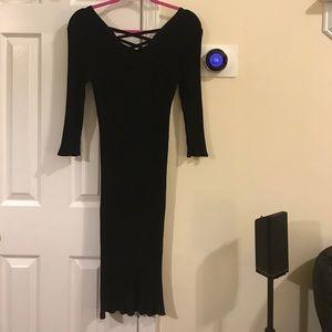 Black Ribbed Crisscross Dress