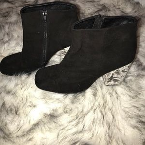 Free people suede with velvet block heel booties