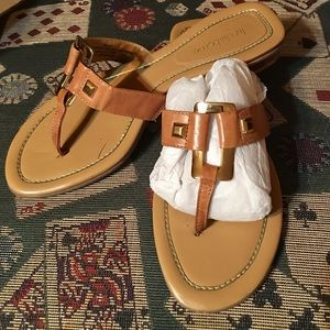 Liz Claiborne leather sandals- gold highlights.
