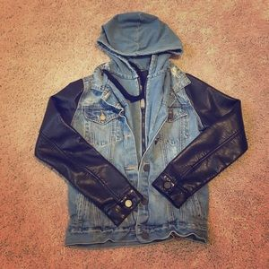 BLANKNYC denim and faux leather hooded jacket.