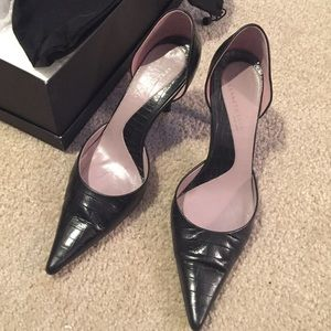 Kenneth Cole D'orsay croc pumps