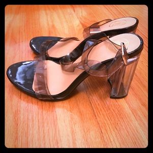 Clear Block Going Out Heels NEVER WORN *Size 6*
