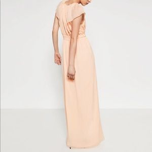 Zara Long maxi Nude Pink Dress, cape sleeve NWT