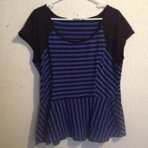 Blue and black striped shirt