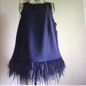 TAHARI ARTHUR LEVINE VICTORIA TOP OSTRICH FEATHERS