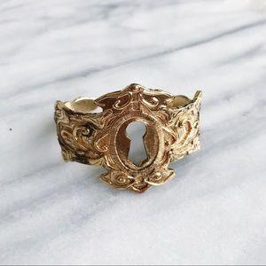 Keyhole Gold Cuff Bracelet