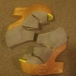 Grey & Lime Wooden Cut Out Heel Sandal