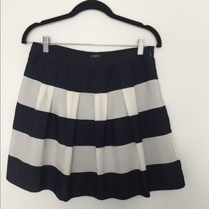 J Crew Striped Navy and White Skirt
