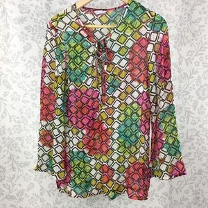 Trina Turk silk sheer print blouse floral diamond