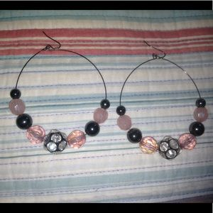 Jewelry - Large Black & Pink Hoop Earrings