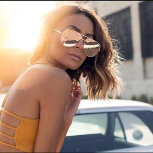 QUAY Desi Gold High Key Sunglasses