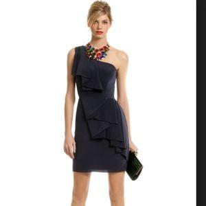 Shoshanna Adore Me One Shoulder Navy Dress