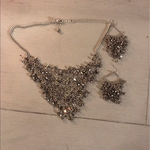 Express Silver Necklace and Chandelier earrings