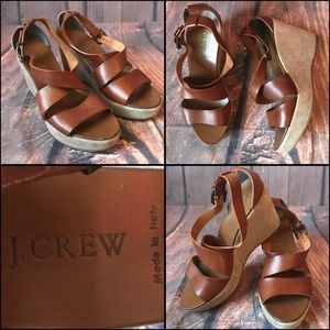 J Crew Leather Strap Wedge Sandals