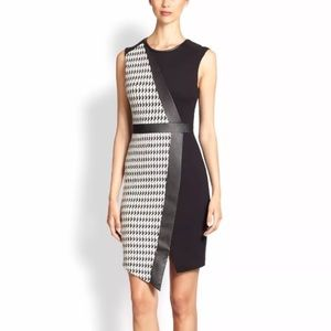 ABS Allen Schwartz Houndstooth Faux Wrap Dress