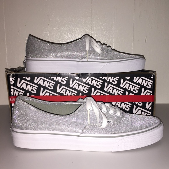 75087e828d72 NWT Vans Shimmer Silver Authentic Shoes