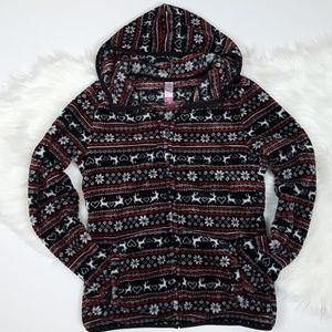 Holiday Christmas Hoodie Zip Up Sweater Size Small