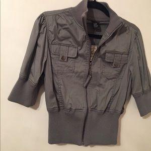 Gray Mini Bomber Jacket