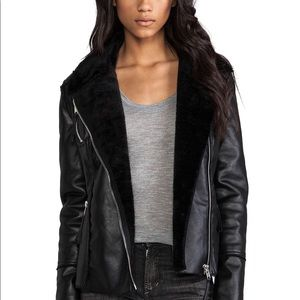 Blank NYC Vegan Leather Moto Jacket with Faux Fur