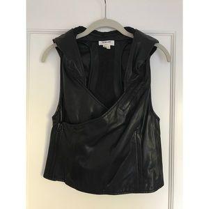 Vintage Helmut Lang Hooded Black Leather Vest