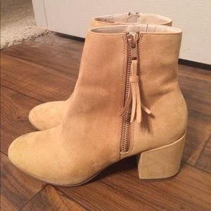 Faux suede tan booties