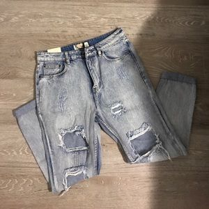 Distressed high waisted  jeans acid wash BACK RIP