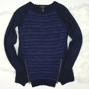 🌺 Gold Zipper Navy Blue Sweater Size XS by Macy's