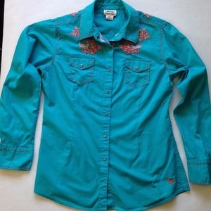 Ariat Turquoise Embroidered Shirt Womens Size Med.