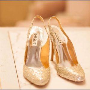 Badgley Mischka Glitter Sling Back Heels