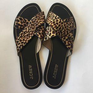 J. CREW Cheetah Leopard Print Slide Sandals 10