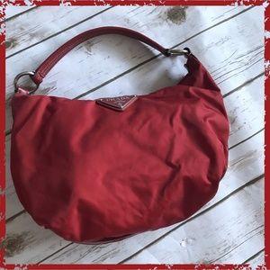 Authentic Prada Red Small Hobo Shoulder Handbag
