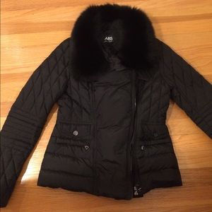 ABS removable fur collar quilted Moto jacket