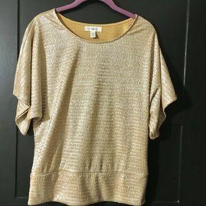 🌟 NWT Dress Barn Dazzling Gold Top