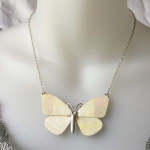 Off White Shell Butterfly Necklace