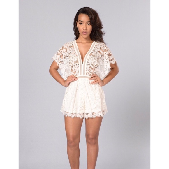 6ebe3e3bc8f Fashion Nova Dresses   Skirts - White Lace Romper