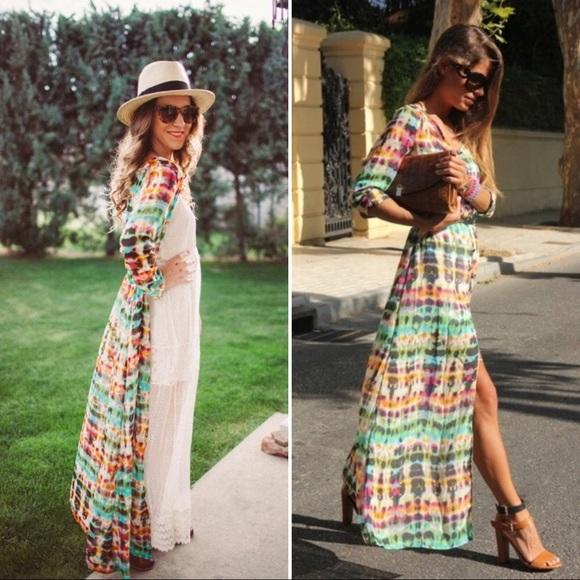 8d53eed0 Zara Trafaluc tie dye sheer maxi dress kimono boho.  M_59bf3b75680278f97c0b182f