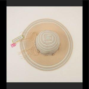 Accessories - Cream stitched Floppy Wide Brim Sun Hat