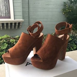 Forever 21 brown heeled chunky sandals