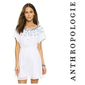 NWT Anthropologie White Embroidered Tassel Dress L