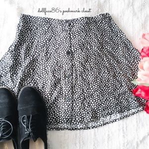 Black + White Floral Button Down Skirt