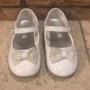 White patent leather dress shoes