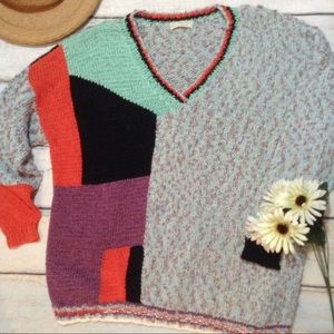 VTG Hand Knit Colorful Unique Abstract Sweater