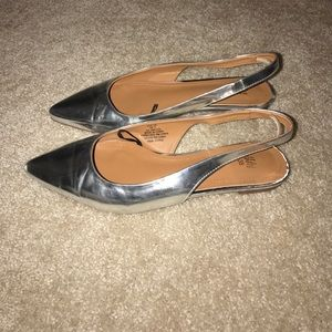 Silver sling back pointed flats