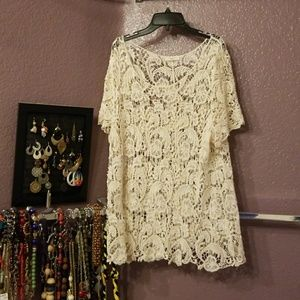 Cream colored lace blouse