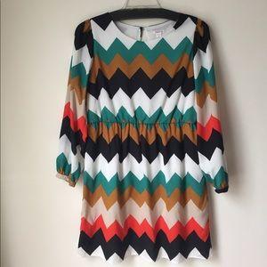 Xhilaration Retro 60s Chevron Striped Dress XXL