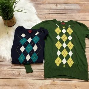 Set of 2 Argyle sweaters- 1 crewneck 1 V-neck