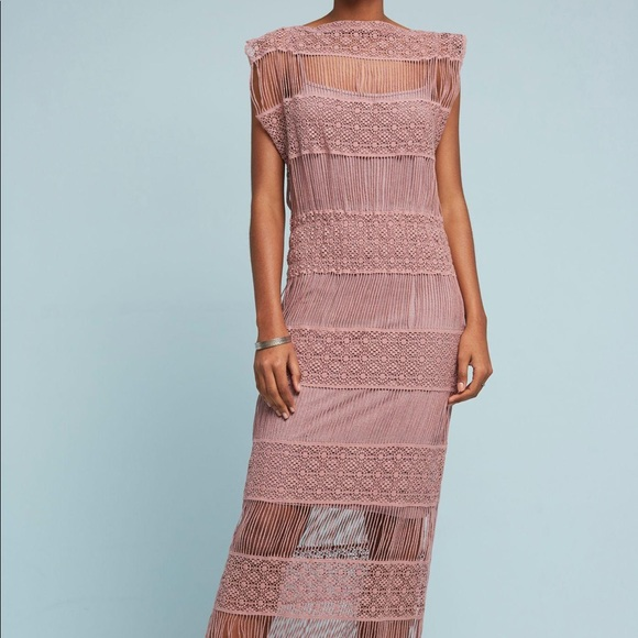 2c95c622613c Callahan Dresses & Skirts - Anthropologie Pink Amelia Crocheted Maxi Dress