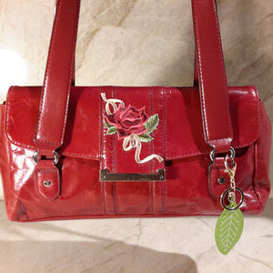 Red Patent Leather City Handbag Floral Embroider