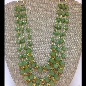 Jewelry - Festive Gold Light Bulb Necklace & Green Prism's