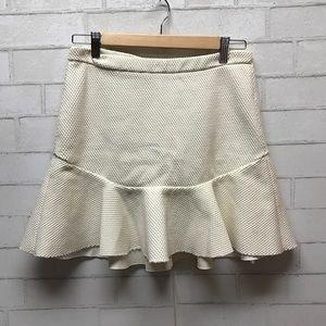 Zara / cream fluted flare skirt
